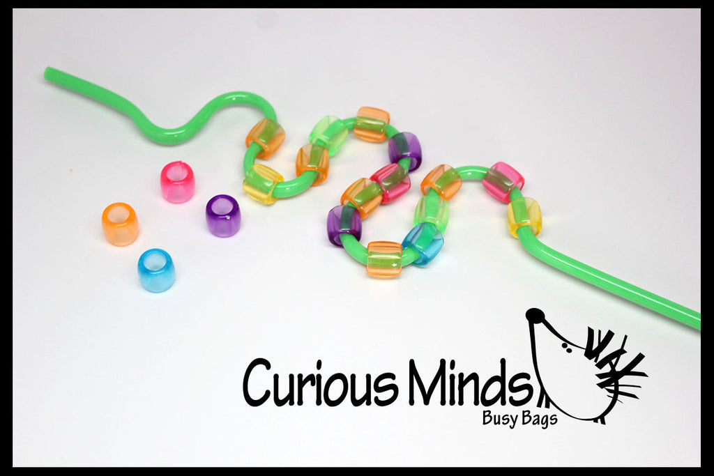 SALE - Straw Beading Fine Motor Busy Bag - Toddler Busy Bag, Learning Game, OT