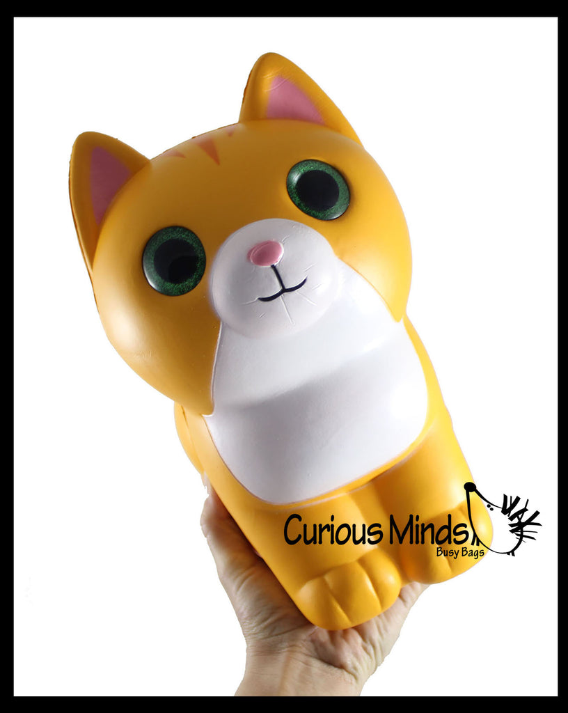JUMBO Cat Squishy Slow Rise Foam Pet Animal Toy -  Scented Sensory, Stress, Fidget Toy
