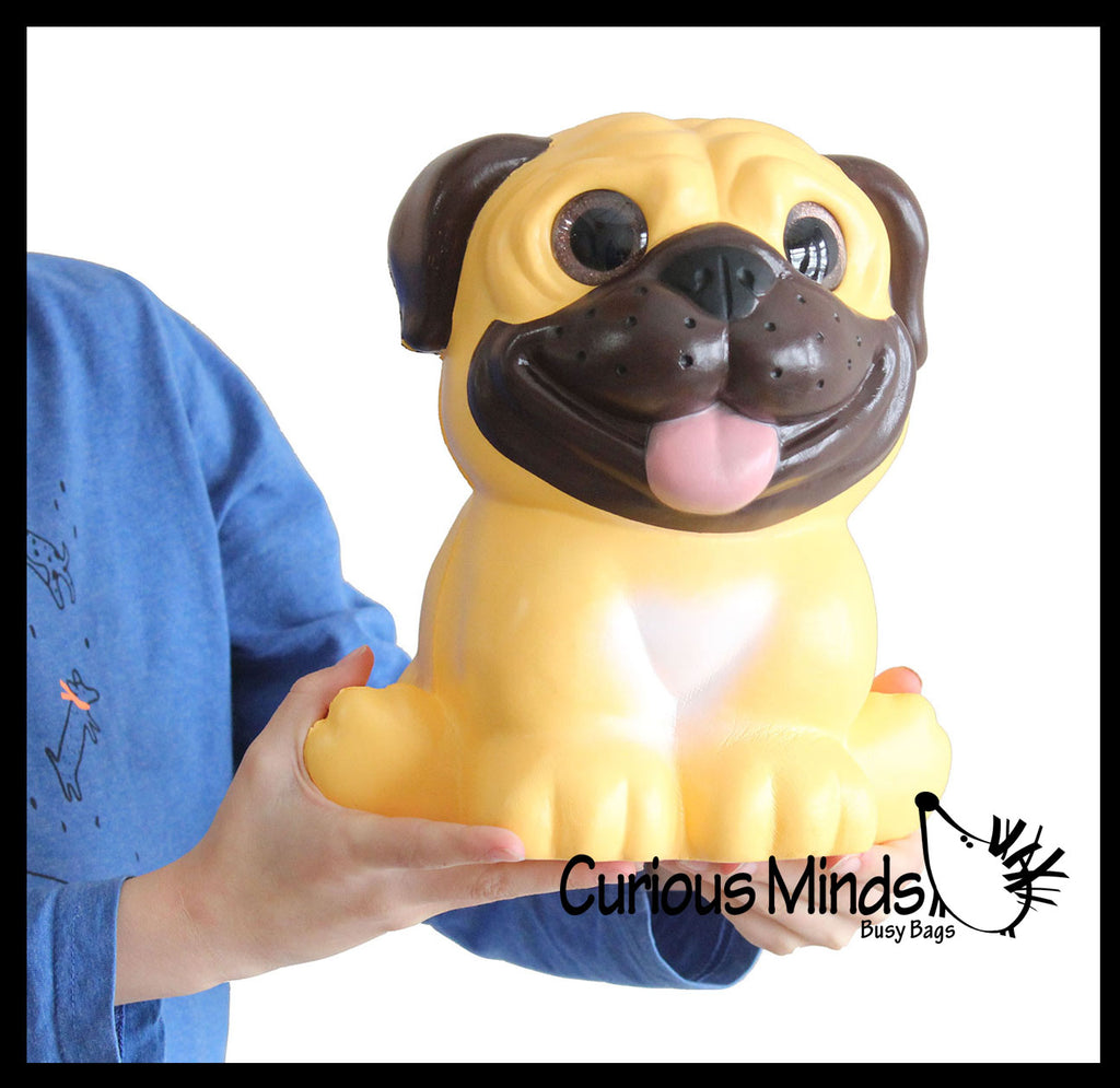 JUMBO Pug Dog Squishy Slow Rise Foam Pet Animal Toy -  Scented Sensory, Stress, Fidget Toy