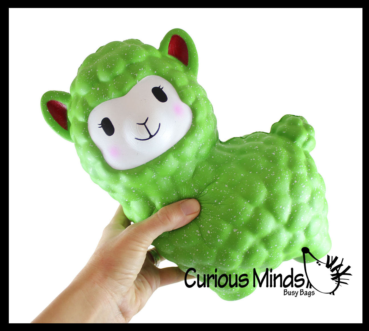 Jumbo Alpaca Slow Rise Squishy Toy - Red or Green with Snow - Memory Foam Squish Stress Ball - Winter Christmas