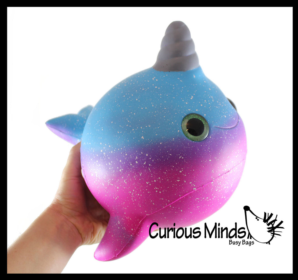 JUMBO Narwhal Squishy Slow Rise Foam Pet With Sparkle Eyes Animal Toy -  Scented Sensory, Stress, Fidget Toy