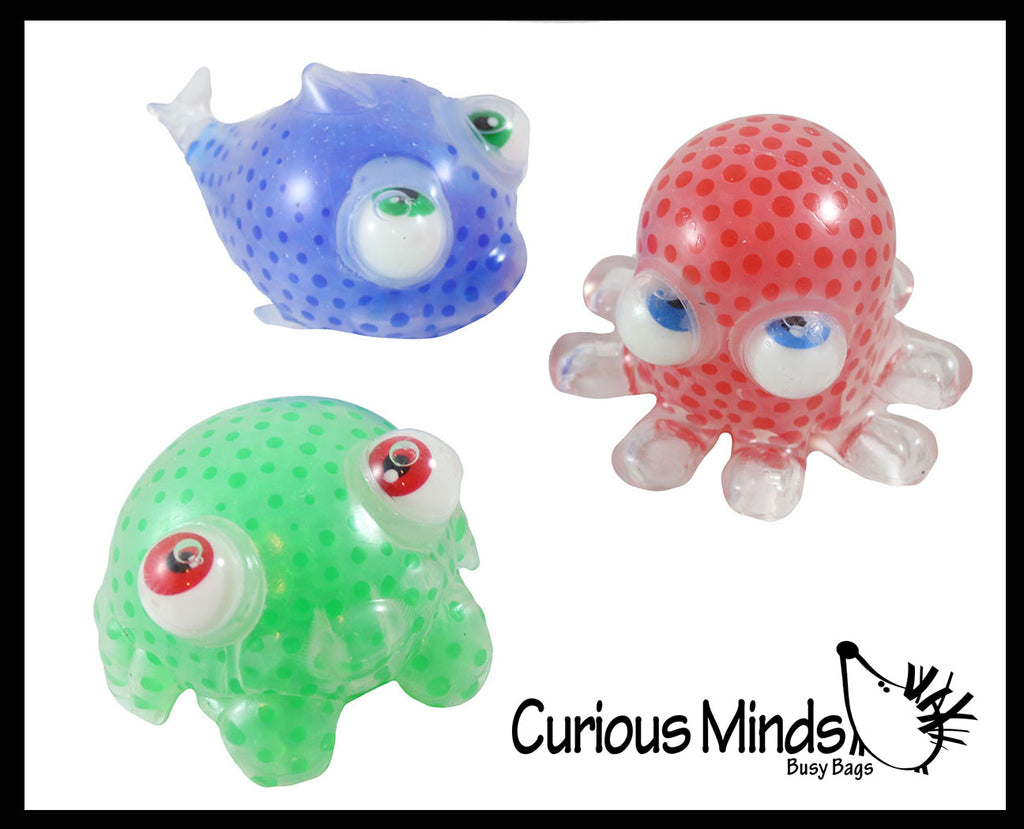 Large Water Bead Filled Ocean Animal Squeeze Stress Balls with Moving Google Eyes -  Sensory, Stress, Fidget Toy