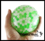 "Jumbo 4"" Water Bead Ball with White Filled Squeeze Stress Ball  -  Sensory, Stress, Fidget Toy"