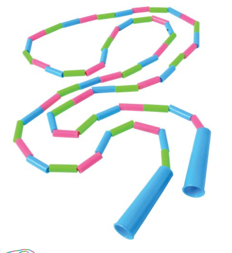 Plastic Jointed Bead Jump Rope - Classic Outside Active Toy - Tweens and Teens - Heavy Segmented Playground Skipping Rope