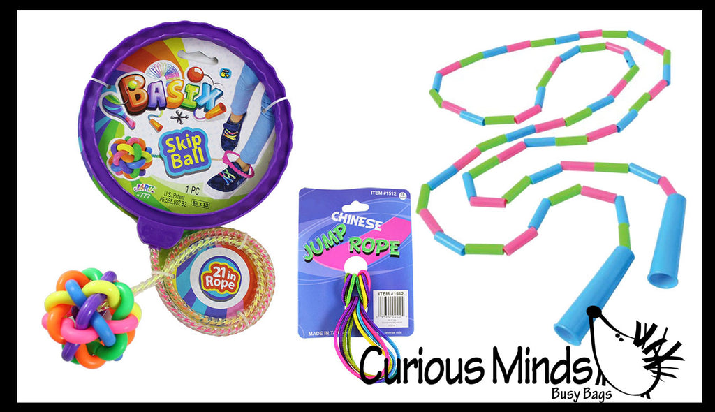 Jump Rope Bundle - Beaded Jump Rope, Chinese Jump Rope and Skip Along Jump Rope - Classic Outside Active Toy - One-Legged Skip Over It - Tweens and Teens -  Playground Skipping Rope
