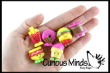 30 Different Food Mini Toy Figurines Replicas - Math Counters, Sorting or Alphabet Objects, Playsets, Dairy, Fruit, Fast Food, Frozen Treats