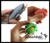 Set of 3 Fun Pop-Out Fidget Keychain Toys - Pooping Pig, Shark Attack, Turtle -Squeeze to Pop Head out of Shell - Chain Clip OT Funny Gag Gift