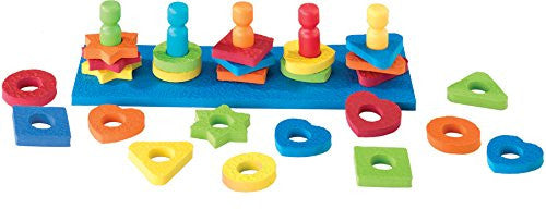 SALE - Shape and Color Sorting Peg Board Toy - Crepe Rubber