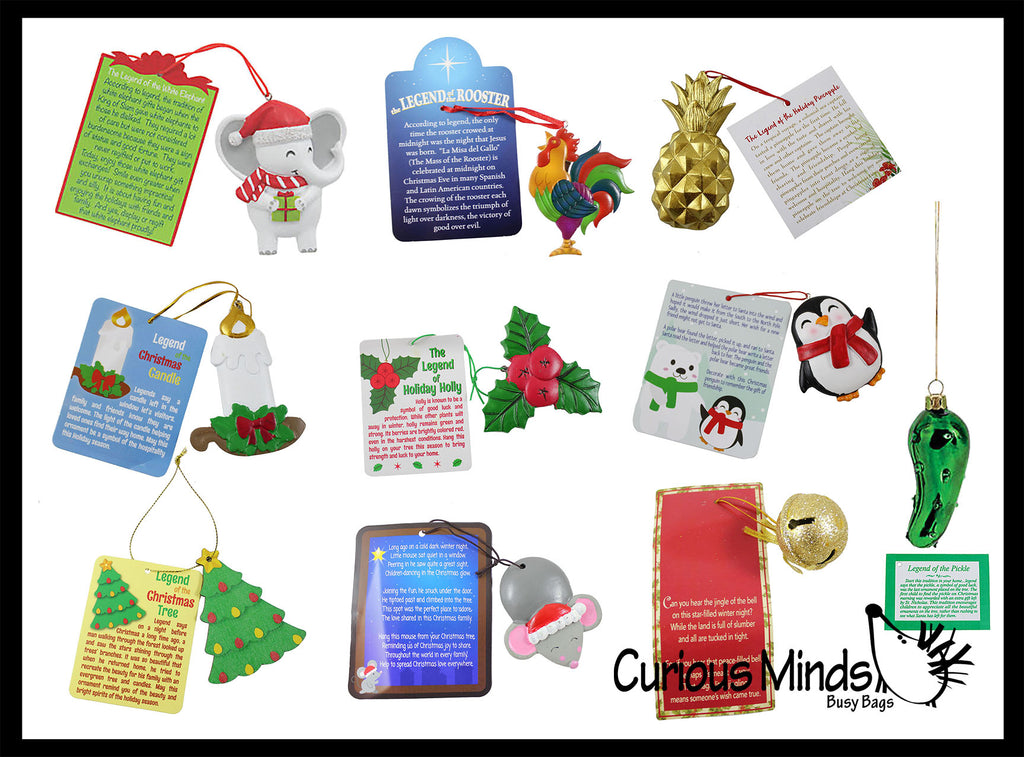Christmas Ornaments for Tree - Several Styles of Legends of the.....Mouse, Tree, Candle, Holly, Penguin, Bell, Pineapple, White Elephant, Rooster, Pickle.  Christmas Holiday Decorations