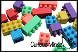 Functional Building Brick Block Erasers - They Stack! - Cute Fidget Novelty Prize