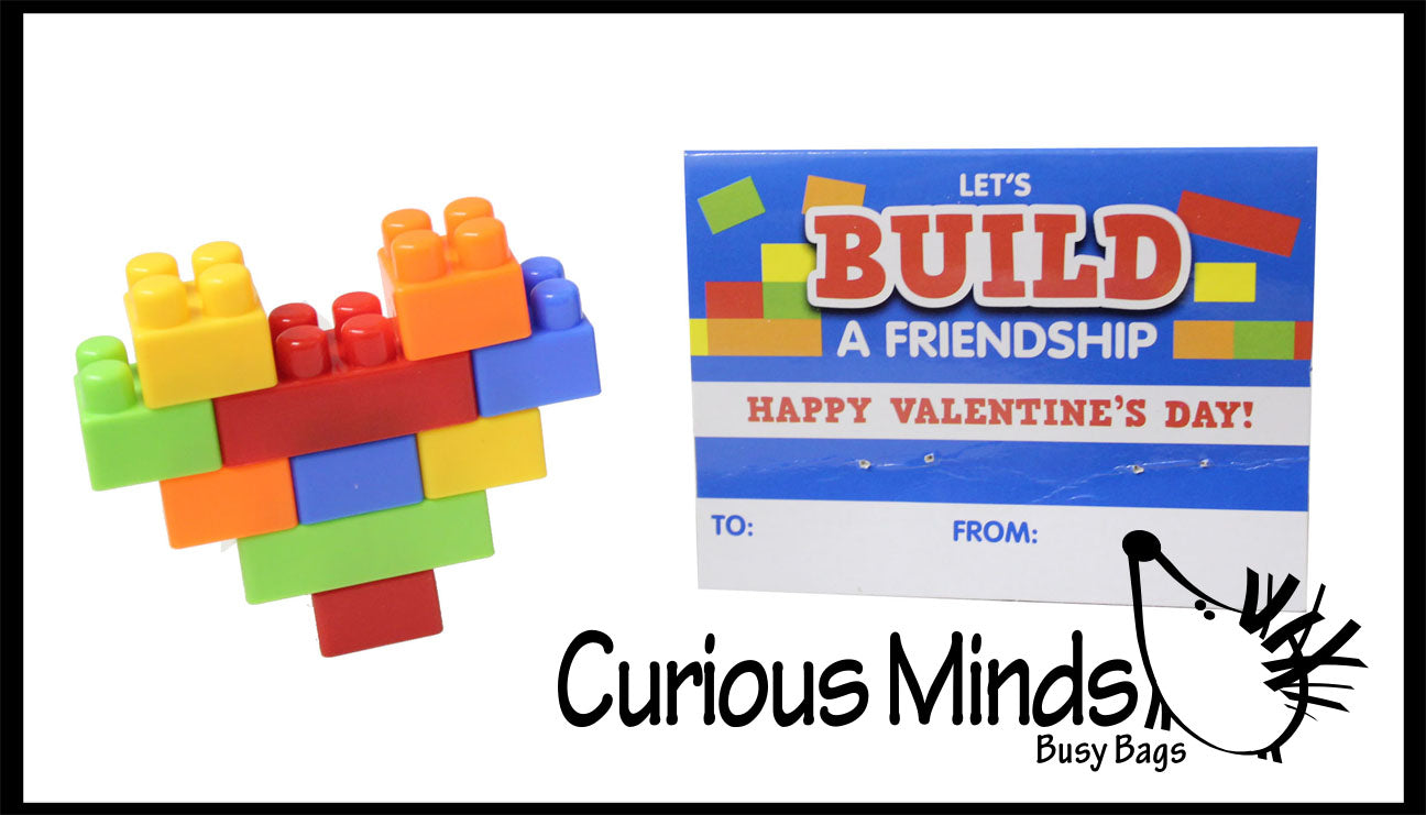 Unique Valentines Day Cards for Kids - Building Brick Heart