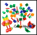 Construction Cubes and Sticks Building Toy In Jar - Snap Together Linking Blocks - Open Ended Building Toy