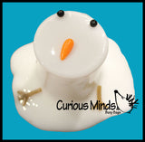 Melting Snowman Slime - White Slime with Snow Man Parts - Eyes, Stick Arms and Carrot Nose - Christmas Party Favor