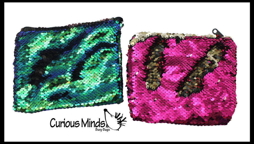 CLEARNANCE - SALE - Mermaid 2 Color Reversible Sequin Bag -  Sensory Fidget Toy Pouch Purse