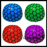 "3"" Bubble Mesh Balls - Squishy Fidget Ball with Web Netting - Stress Ball Color Changing Blobs - Sensory, Fidget Toy- Gooey Squish Bubble Popping OT"