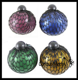 "3"" Metallic Bubble Mesh Balls - Squishy Fidget Ball with Web Netting - Stress Ball Color Changing Blobs - Sensory, Fidget Toy- Gooey Squish Bubble Popping OT"