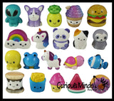 Cute Micro Slow Rise Squishy Toys - Mini Animals and Foods - Memory Foam Party Favors, Prizes, OT