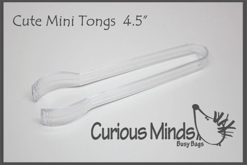Cute mini tongs for adding an extra fine motor challenge to any busy bag