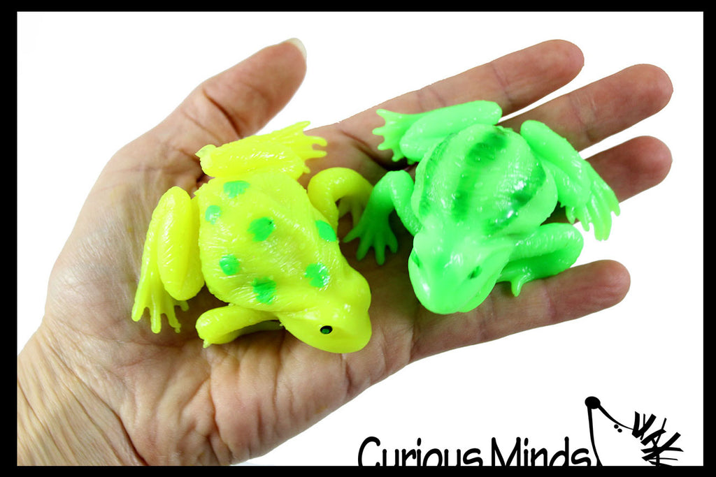 Small Squishy Frog Fidget Toy - Mesh Blob Stress Ball - Water Bead Filled Squeeze Ball