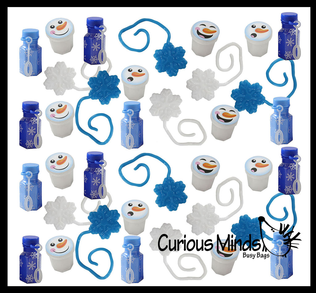 36 Mini Snowman and Snowflake Themed Party Favors Mix - Slime, Sticky Snowflakes, and Bubbles -  White & Blue Snowflake Winter Toys - (3 Dozen)