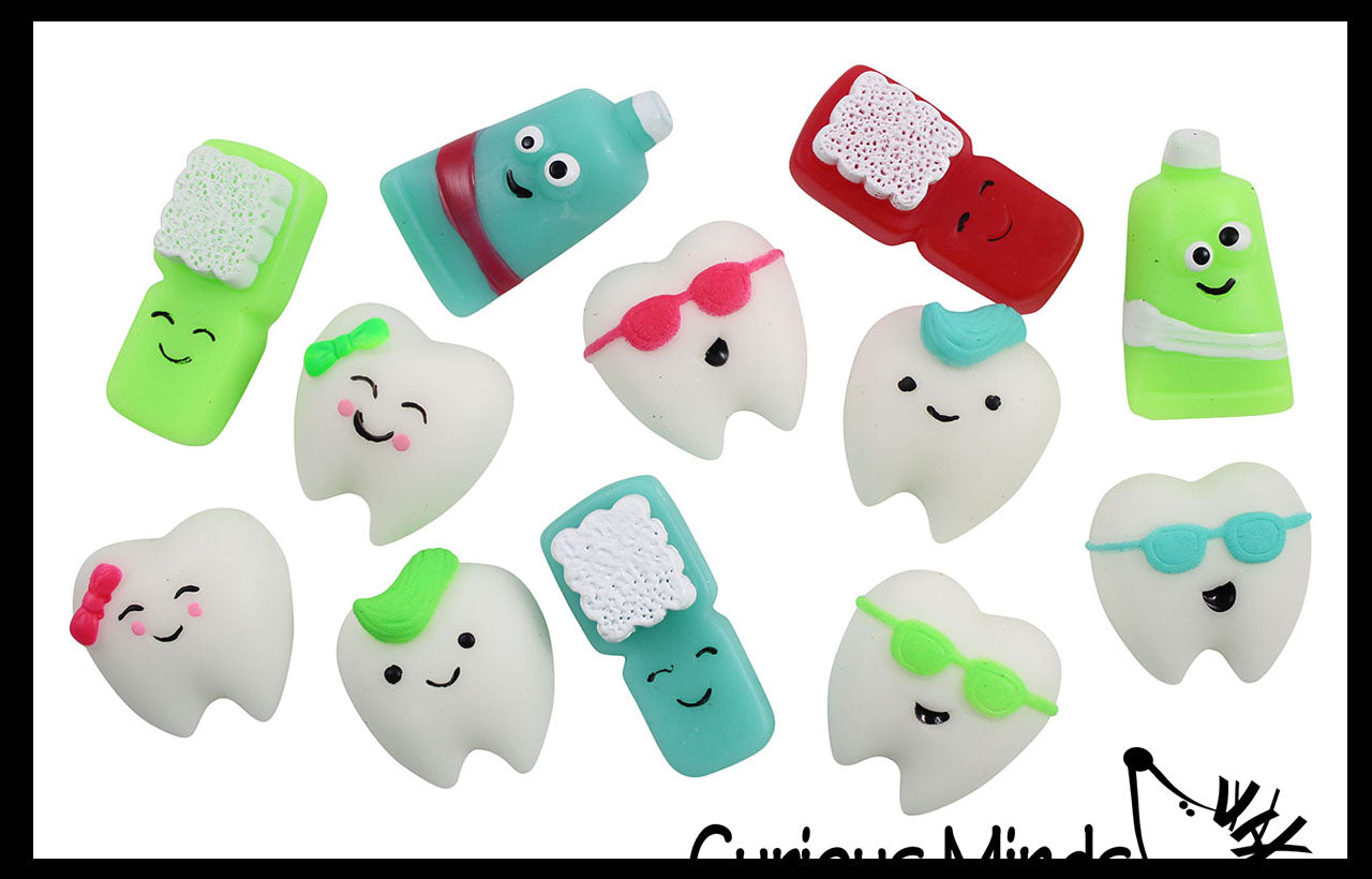 Small Mochi Dental Gummi Figures - Kawaii -  Sensory, Stress, Fidget Party Favor Toy - Dentist Treasure Prize