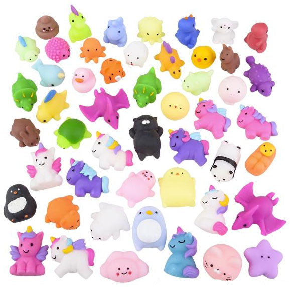 Bagged Cute Animal Mochi Squishy Animals - Kawaii -  Cute Individually Wrapped Toys - Sensory, Stress, Fidget Party Favor Toy