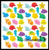 Ocean Sea Animal Mochi Squishy  - Adorable Cute Kawaii - Individually Wrapped Toys - Sensory, Stress, Fidget Party Favor Toy