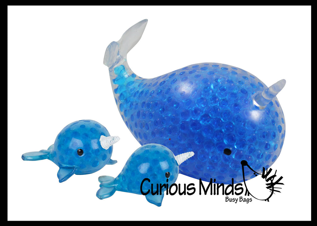 Mommy and Babies Narwhal Family Set - Water Bead Filled Squeeze Stress Ball  -  Sensory, Stress, Fidget Toy