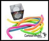 "5 Stretchy Noodle Strings Fidget Toy - 13"" Long, Not Sticky, Thick, Build Resistance for Strengthening Exercise, Pull, Stretchy, Fiddle"