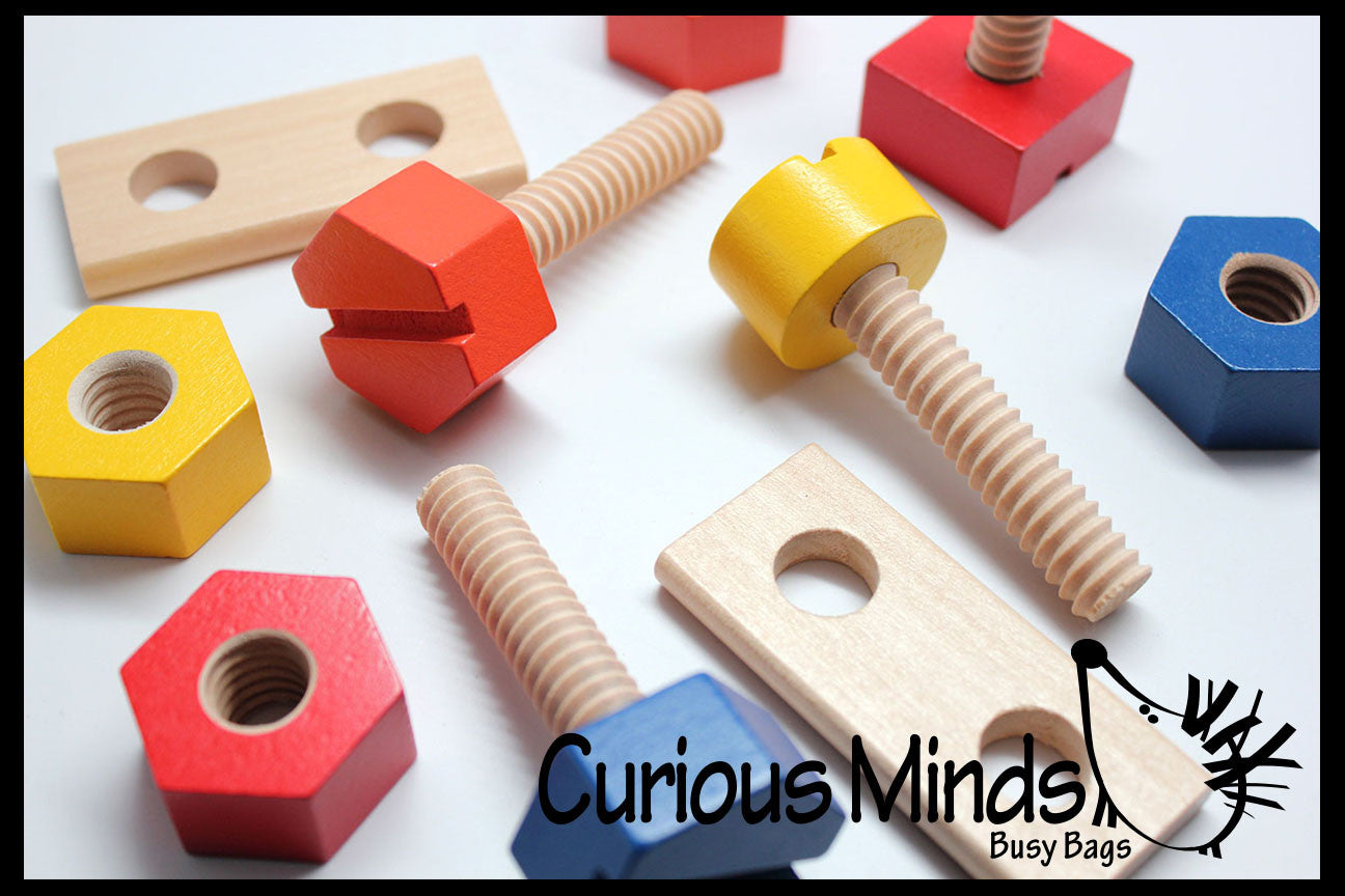 Large Nuts And Bolts : Large wood nuts and bolts fine motor montessori activity