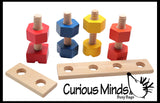 Large Wood Nuts and Bolts - Fine Motor Montessori Activity for Toddlers 18M and up Montessori Toy