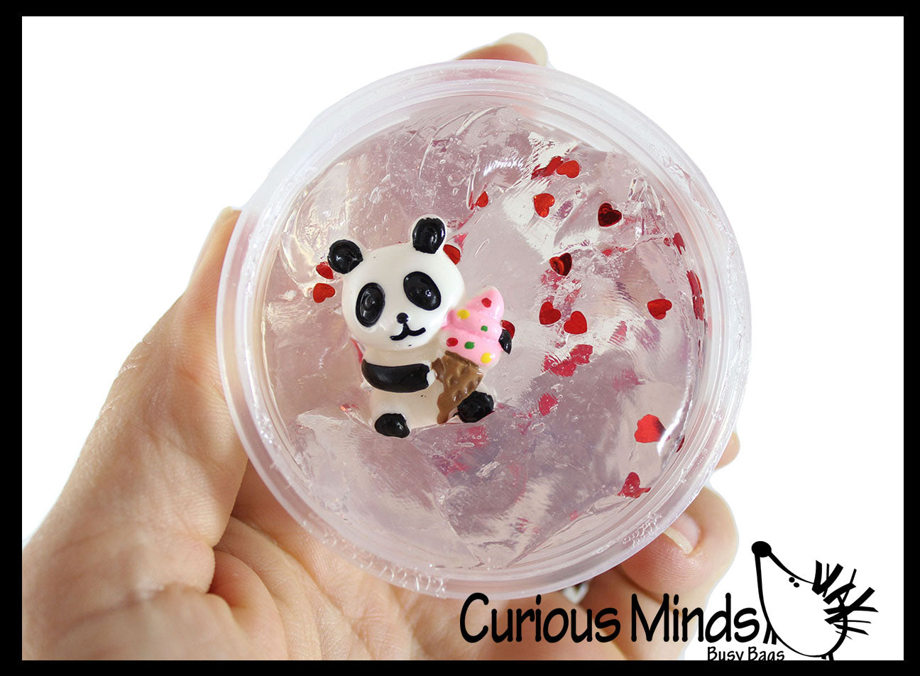 Panda Putty - Thick Clear Slime with Panda Figurine  - Container - Putty - Goo - Heart Sprinkle