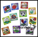 12 Mini 2-Piece Puzzles - Beginner Puzzle Busy Bag for Toddlers.  Matching and Memory Game.