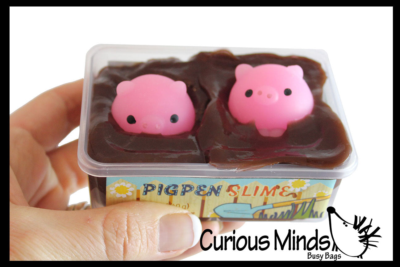 Pig Pen - Pigs in Mud Slime - 2 Piggy Mochi and Brown Mudd Putty - Adorable Pig Lover Gift