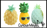 Set of 3 Cute Pineapple Stress Balls -  Sensory, Stress, Fidget Toy Super Soft - Water Bead - Foam - Fruit
