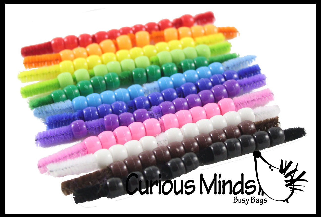 12 Color Beads on Pipe Cleaners - Busy Bag Color Sorting Activity Learning Toy