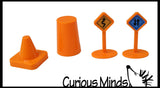 Container of Construction Play Dirt Sand and Signs and Cones - Moving Sand Construction Set