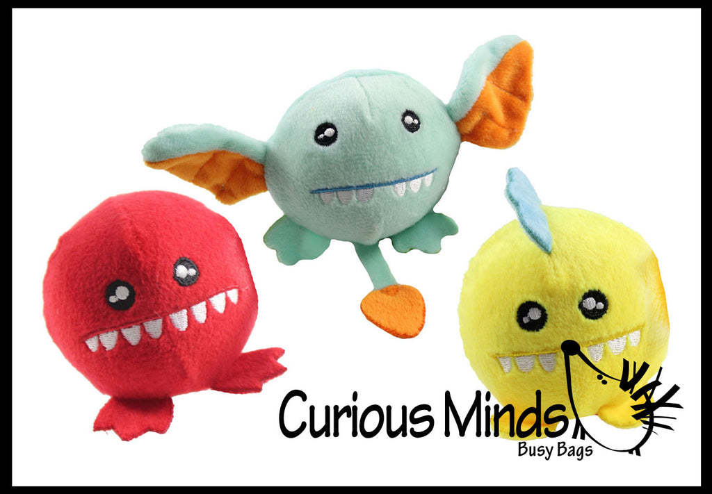 "3"" Plush Monster Squishy Slow Rise Foam Stuffed Animals-  Sensory, Stress, Fidget Toy"