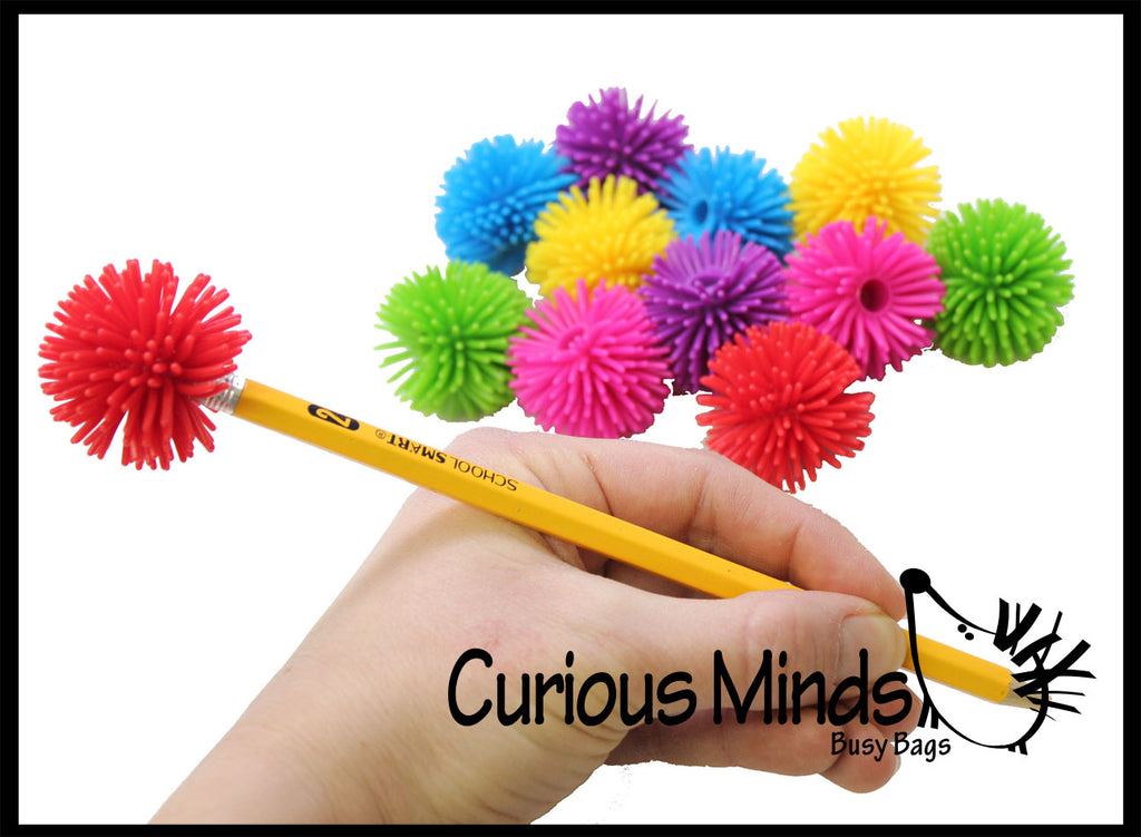 Hedge Ball Pencil Toppers - Sensory Office Toy - Party Favor Classroom Prize