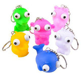 Animals With Pop-Eyes Novelty Key Chain  -  Sensory, Gag, Stress, Fidget Toy
