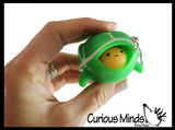 Fun Pop-Out Turtle Fidget Keychain Toy - Squeeze to Pop Head out of Shell - Chain Clip OT