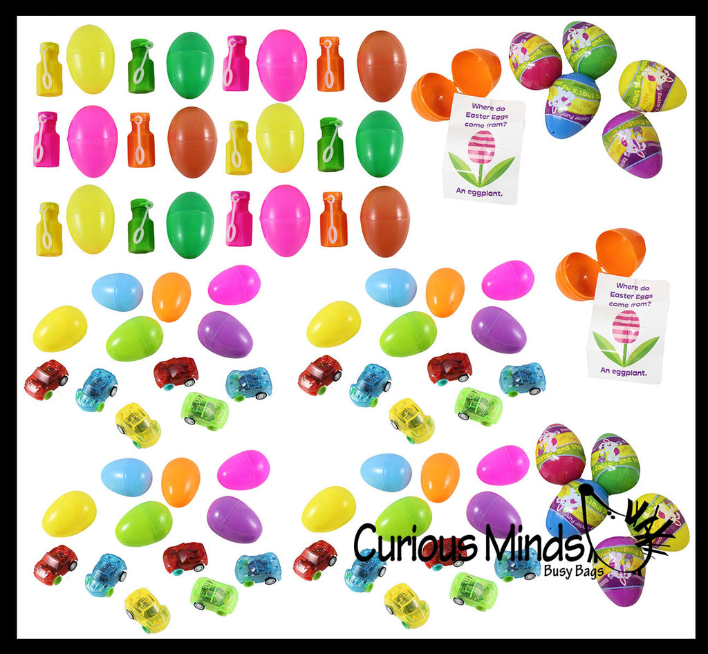 Pre Filled Easter Egg Assortment - Small Toy Prize Assortment Egg Hunt (4 DOZEN)