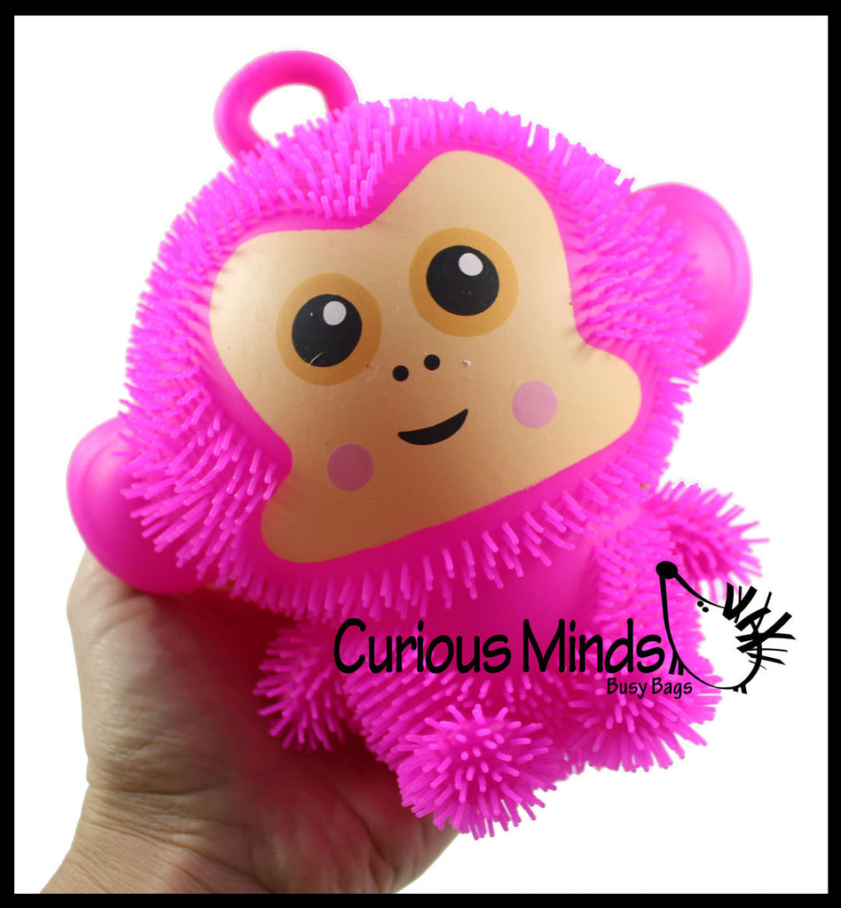 Light Up Puffer Monkey Ball Toy - Flashing Lightup Sensory Tactile Toys Air Filled