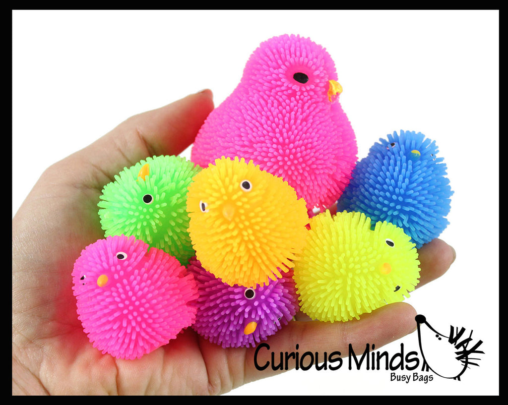 Chicken Family - 1 Hen and 6 Baby Puffer Chicks - Small Novelty Toy - Party Favors - Easter Gift