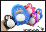 Set of 6 - Puffer Penguin Family - Mom, Dad, and Babies - Mini Puffer Penguin Ball - Squishy Sensory Fidget Ball Toy