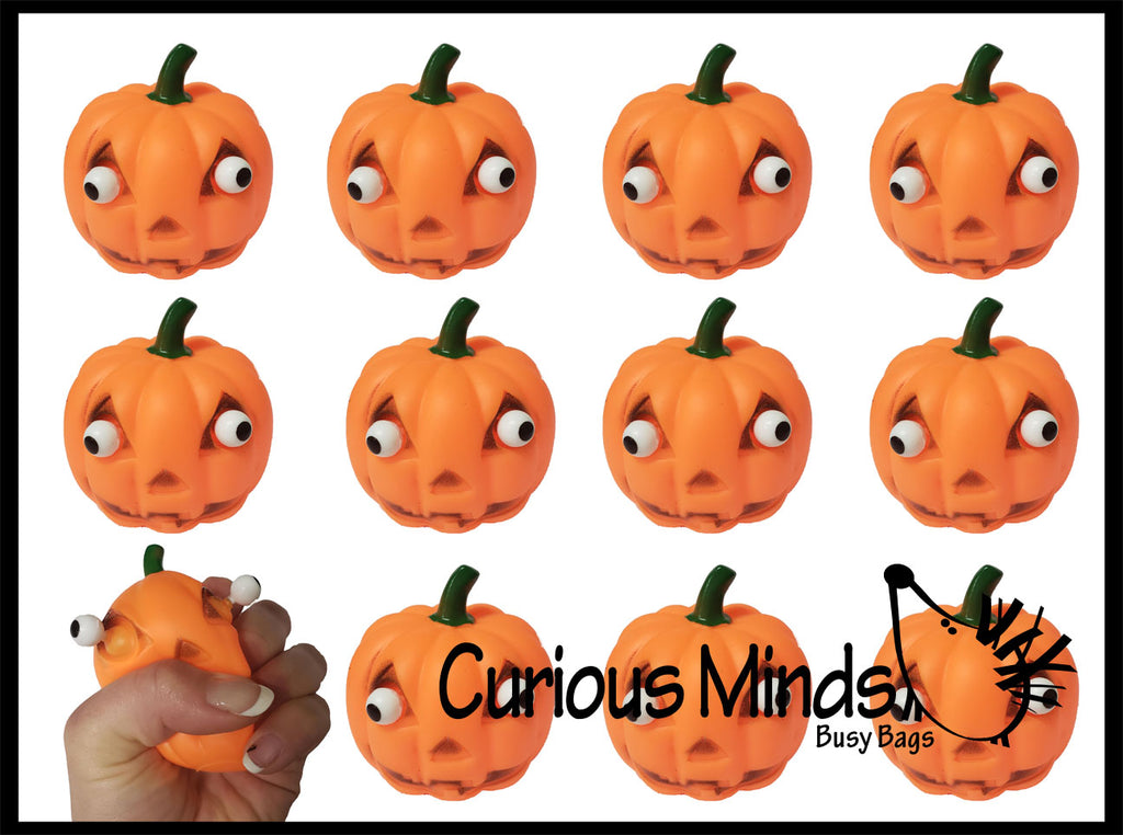 Pop-Eye Pumpkin Halloween Party Favor Stress Balls, Small Novelty Toy Prize Assortment Gifts