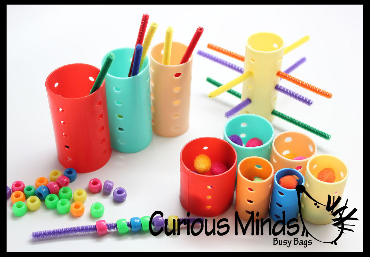 Z DISCONTINUED - Rollers, Pipe Cleaners, Poms and Beads - Invitation to play with loose parts -  fine motor busy bags