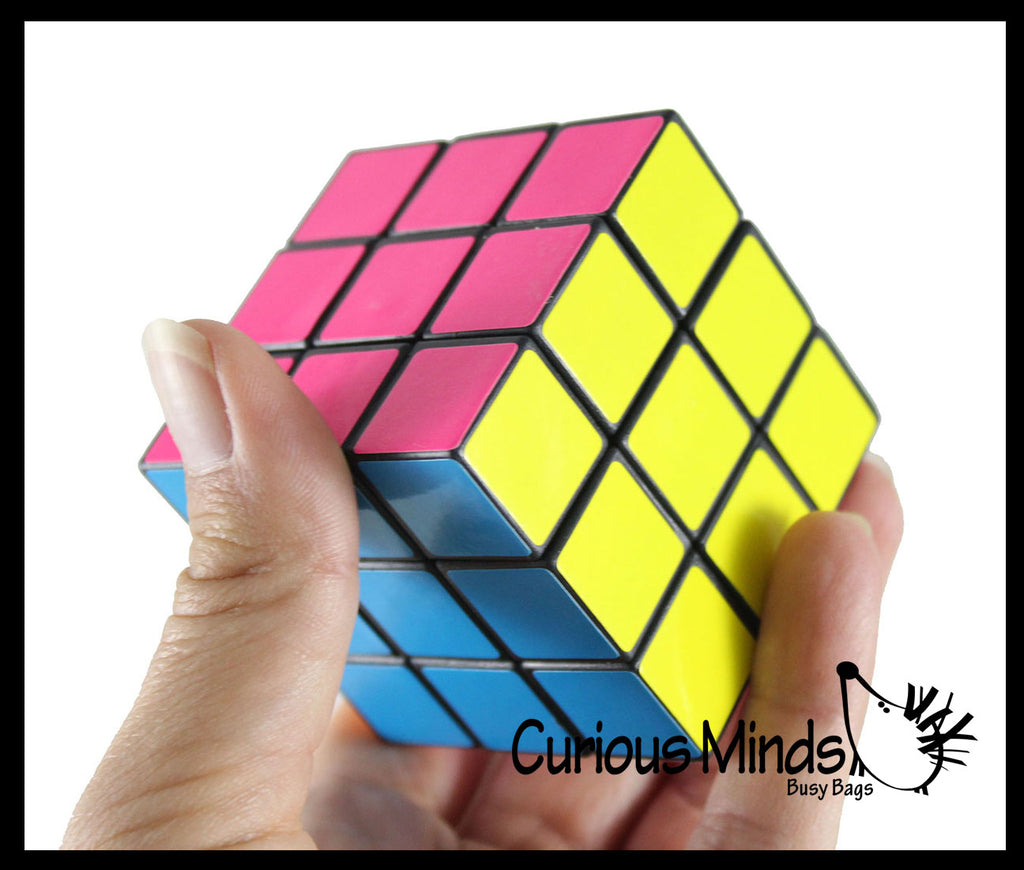 Neon 3x3 Multi-Colored Puzzle Speed Cube Games - Problem-Solving Brain Teaser Logic Toys - Party Favors - Travel Toy Fidget