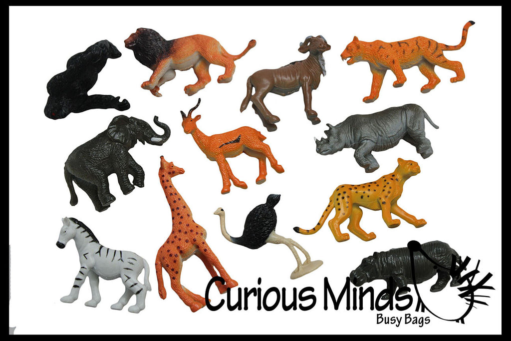 Safari Animal Figurines - Mini Animal Action Figures Replicas - Miniature Jungle Zoo Toy Animal Playset