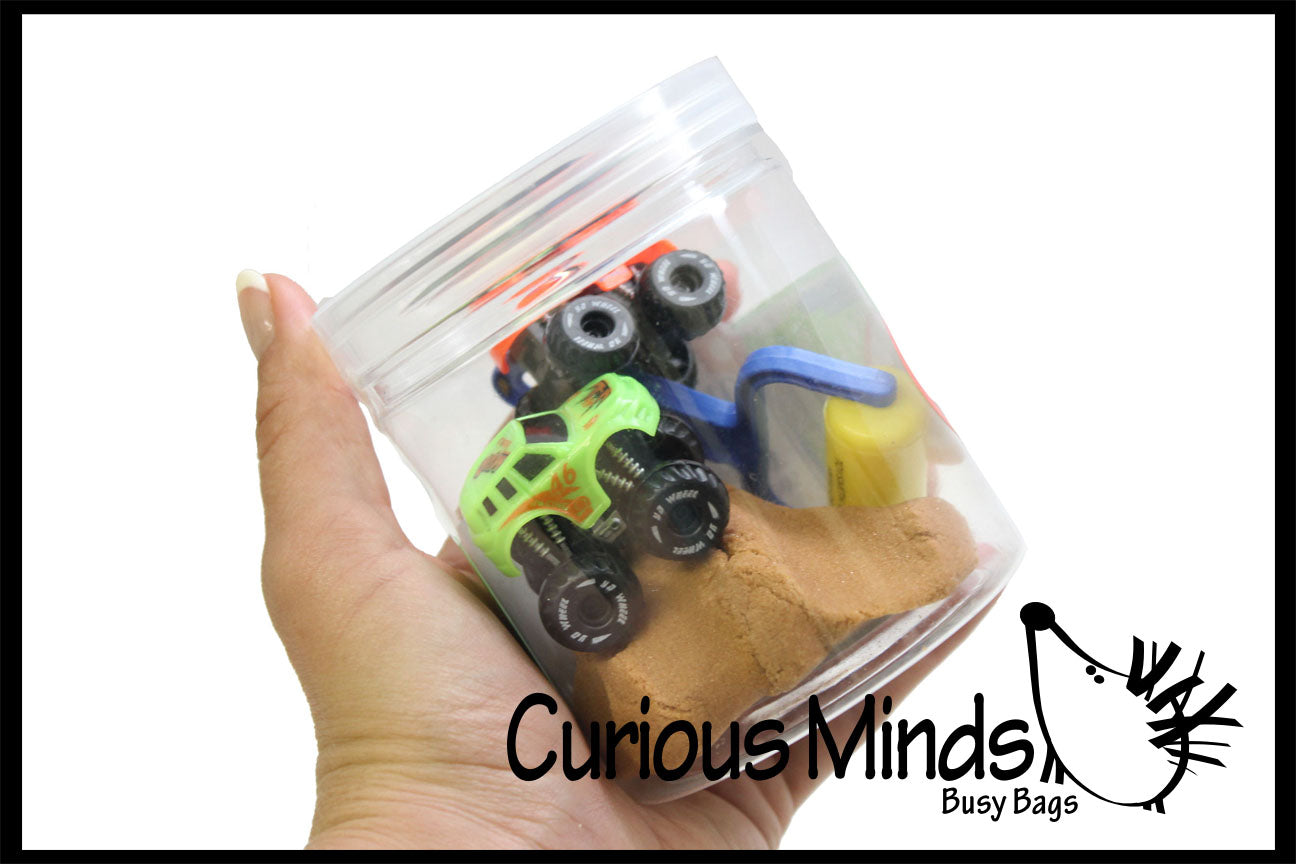 Mini Container of Play Dirt Sand and Trucks - Moving Sand Construction Set
